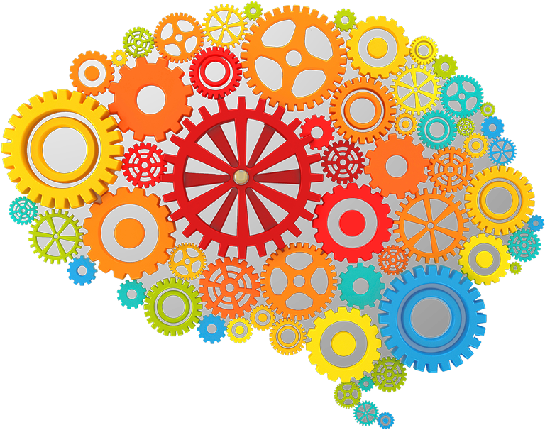 Icon depicting brain comprised of gears